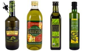 Mình đang dùng Trader Joe's Italian Organic olive oil (chai thứ ba từ trái qua).