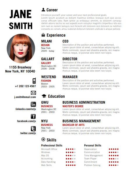 Innovative resume F
